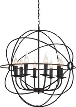 Load image into Gallery viewer, 8 Light Up Chandelier with Brown finish