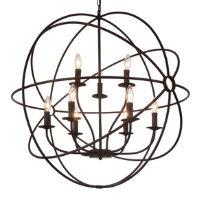 9 Light Up Chandelier with Brown finish