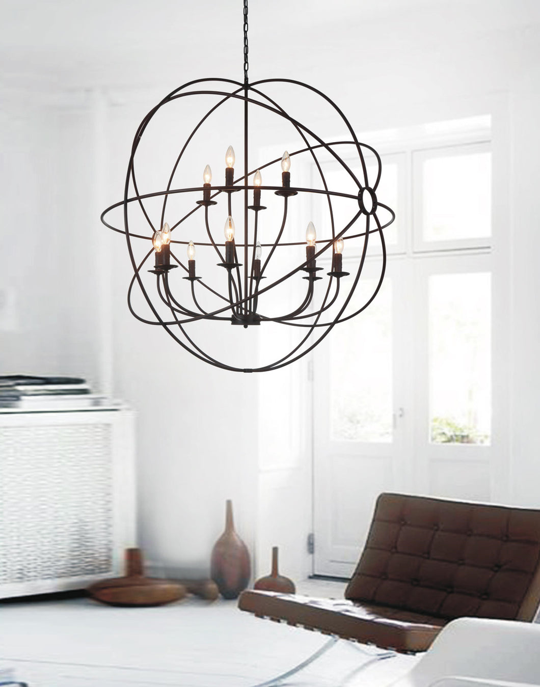 12 Light Up Chandelier with Brown finish
