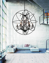 Load image into Gallery viewer, 9 Light Up Chandelier with Brown finish
