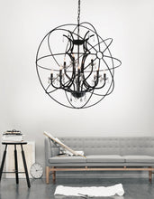 Load image into Gallery viewer, 12 Light Up Chandelier with Brown finish