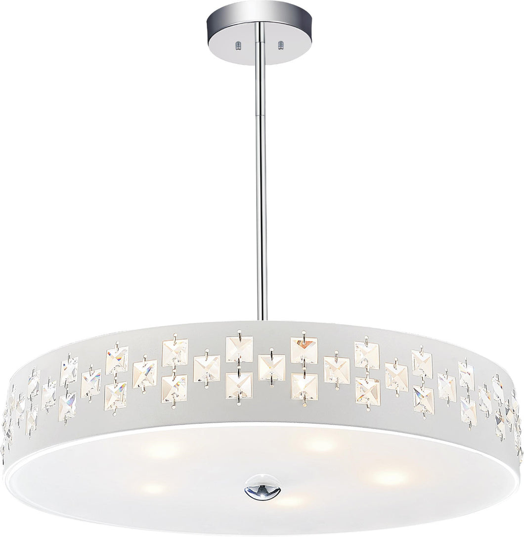 5 Light Down Chandelier with White finish