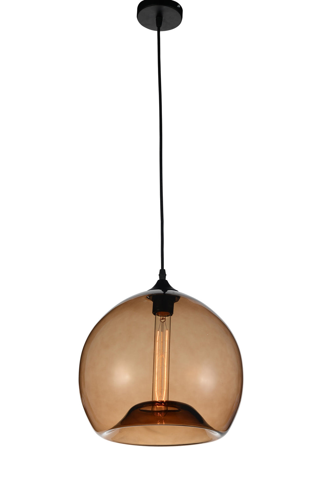 1 Light Down Mini Pendant with Transparent Brown finish