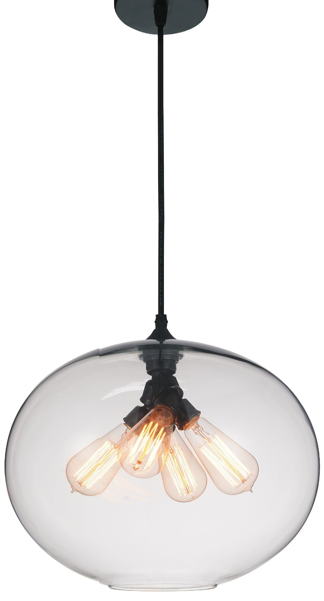 4 Light Down Pendant with Transparent finish