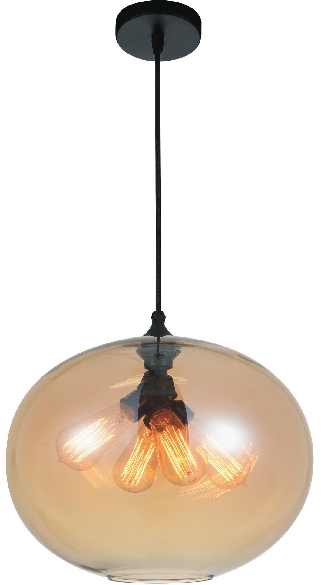 4 Light Down Pendant with Transparent Amber finish