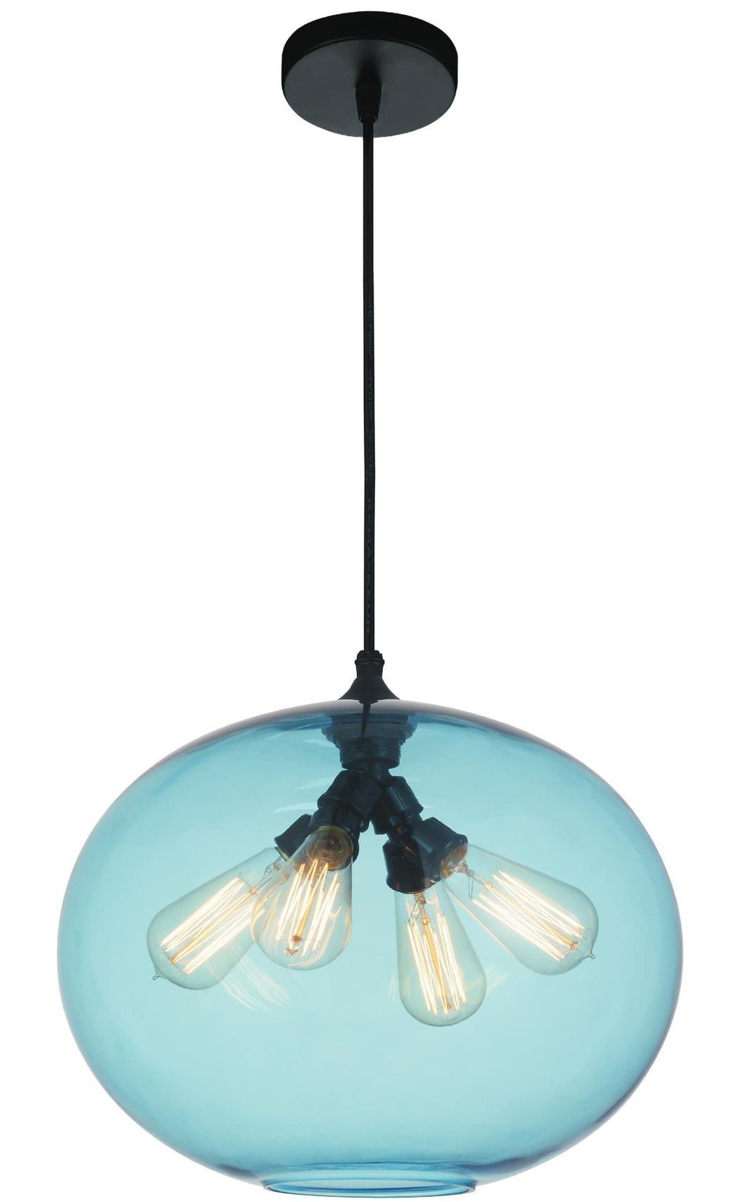 4 Light Down Pendant with Transparent Blue finish