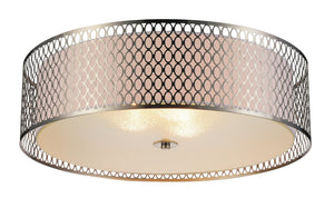 5 Light Drum Shade Flush Mount with Satin Nickel finish