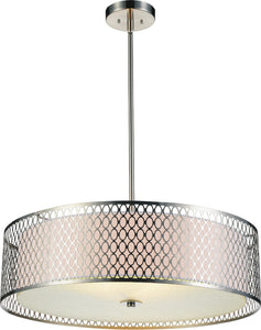 5 Light Drum Shade Chandelier with Satin Nickel finish