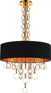 6 Light Drum Shade Chandelier with Gold finish