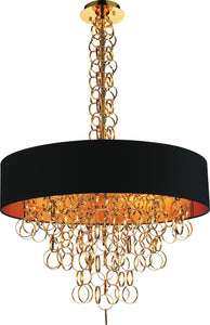8 Light Drum Shade Chandelier with Gold finish