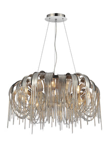 8 Light Down Chandelier with Chrome finish