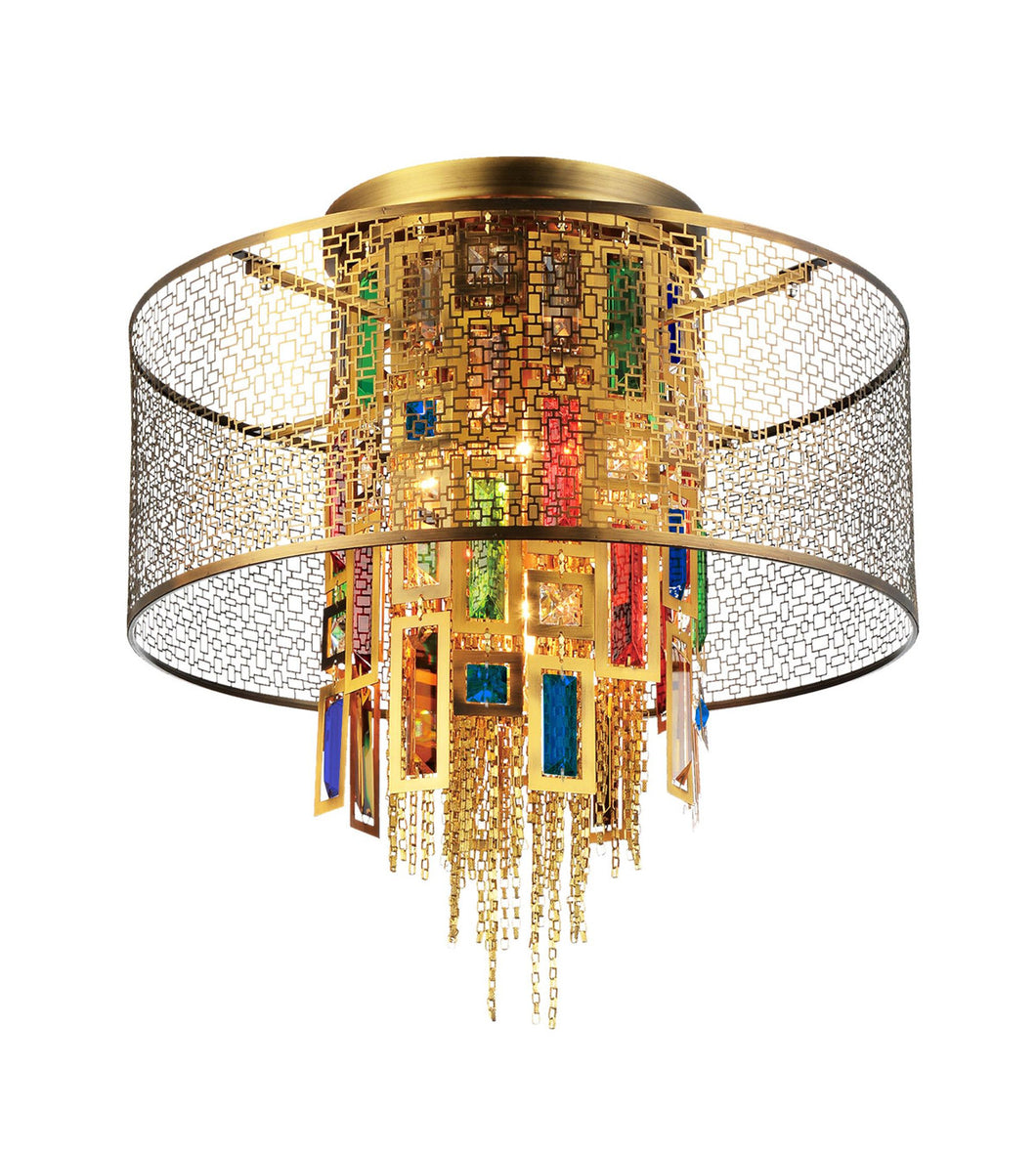 5 Light Drum Shade Flush Mount with Gold finish