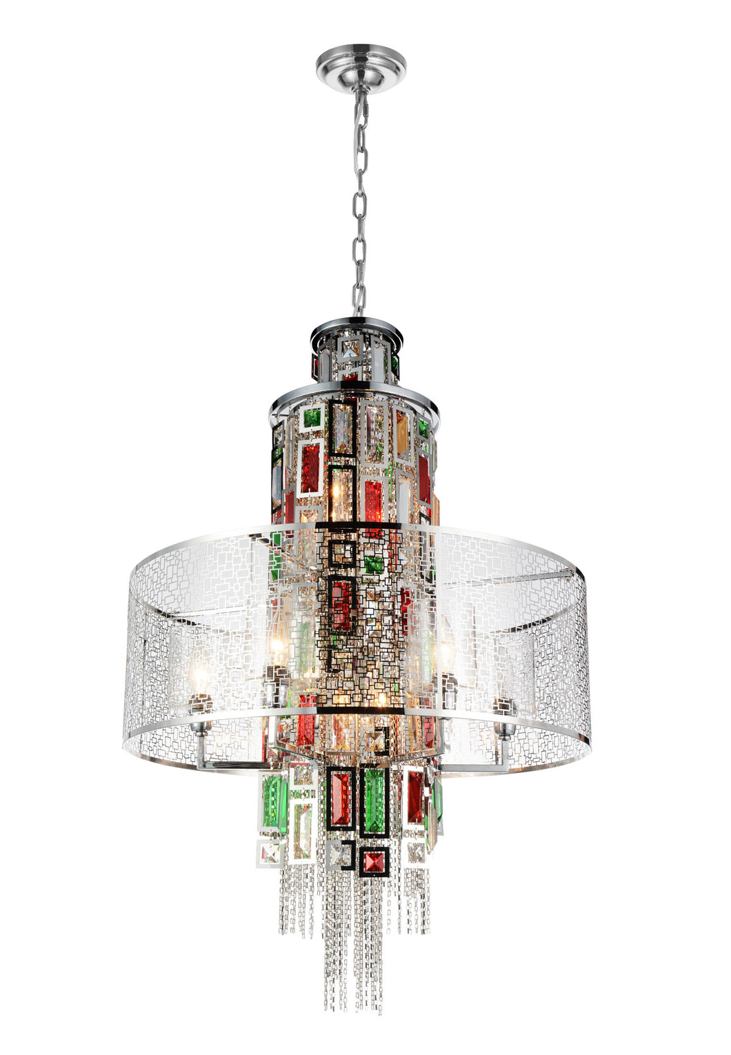 11 Light Drum Shade Chandelier with Chrome finish
