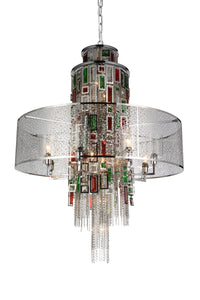 15 Light Drum Shade Chandelier with Chrome finish