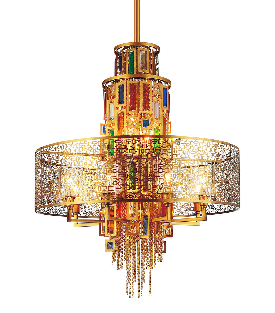 15 Light Drum Shade Chandelier with Gold finish