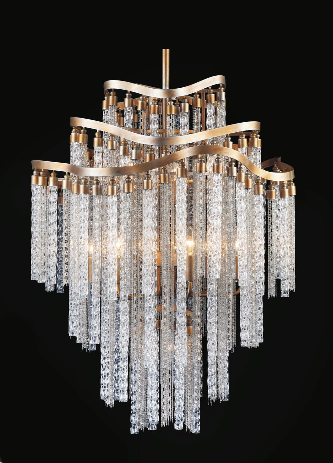 14 Light Down Chandelier with Gold finish