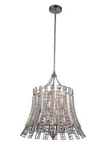 8 Light Drum Shade Chandelier with Antique Forged Silver finish