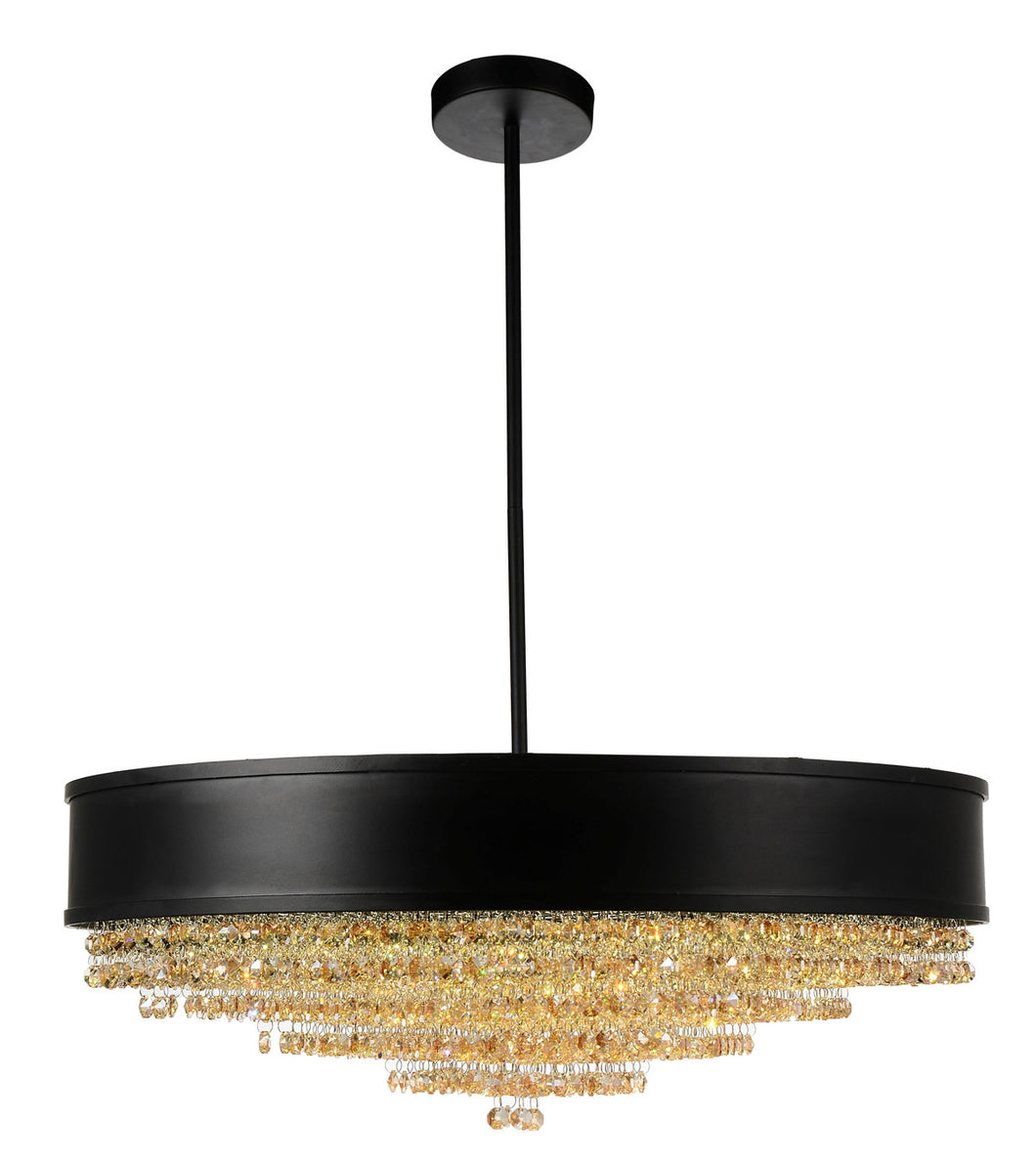 10 Light Drum Shade Chandelier with Black finish