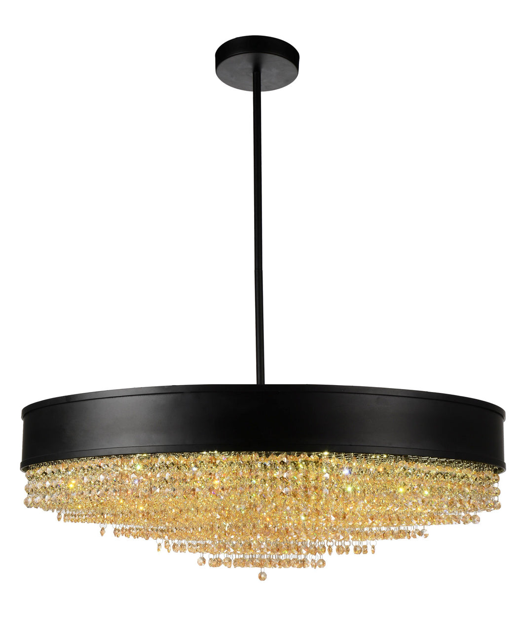 15 Light Drum Shade Chandelier with Black finish