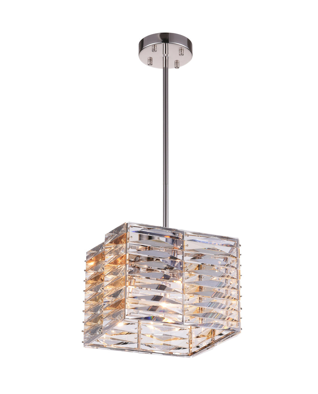 4 Light Down Mini Chandelier with Bright Nickel finish