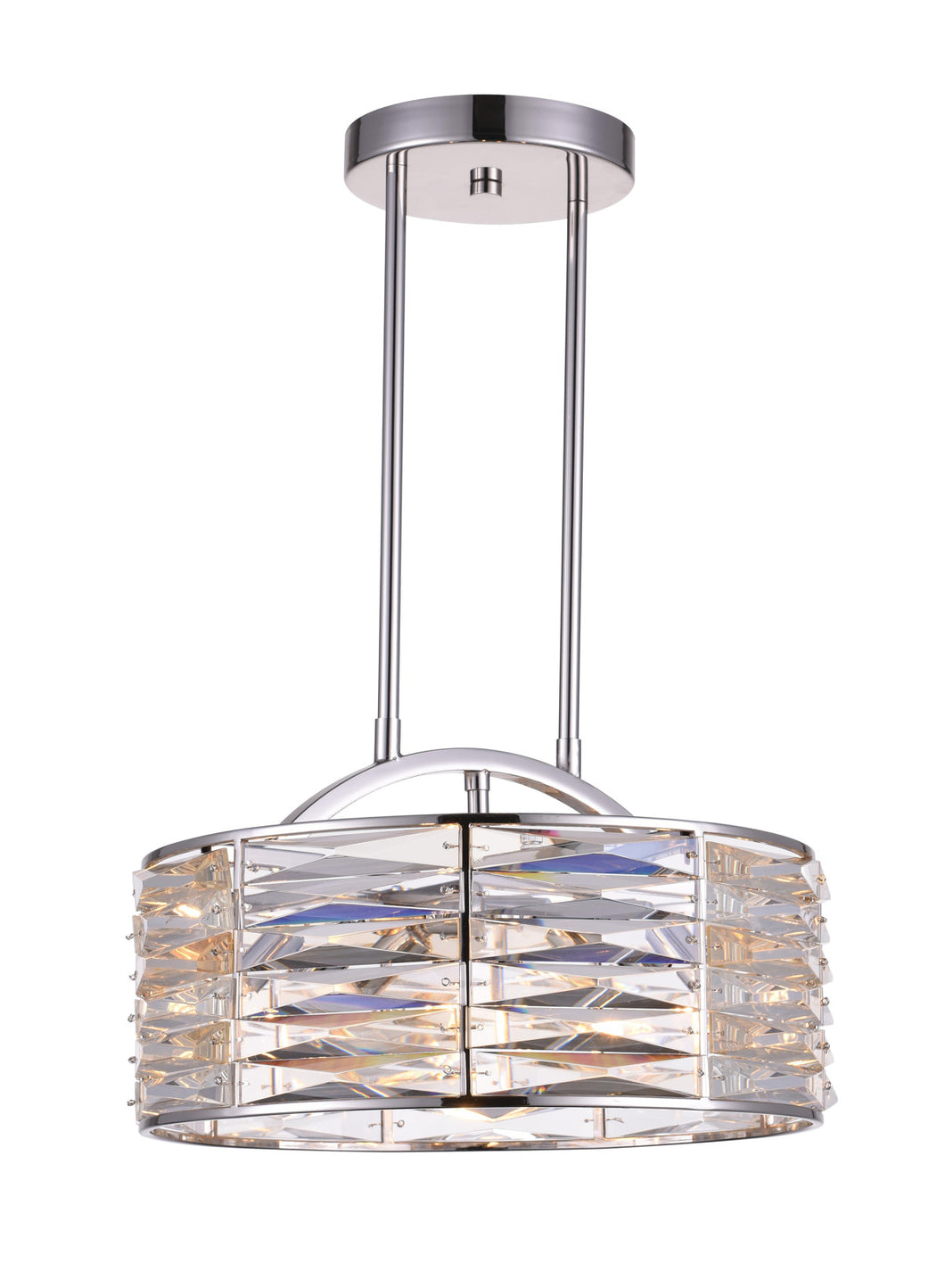 4 Light Down Chandelier with Bright Nickel finish
