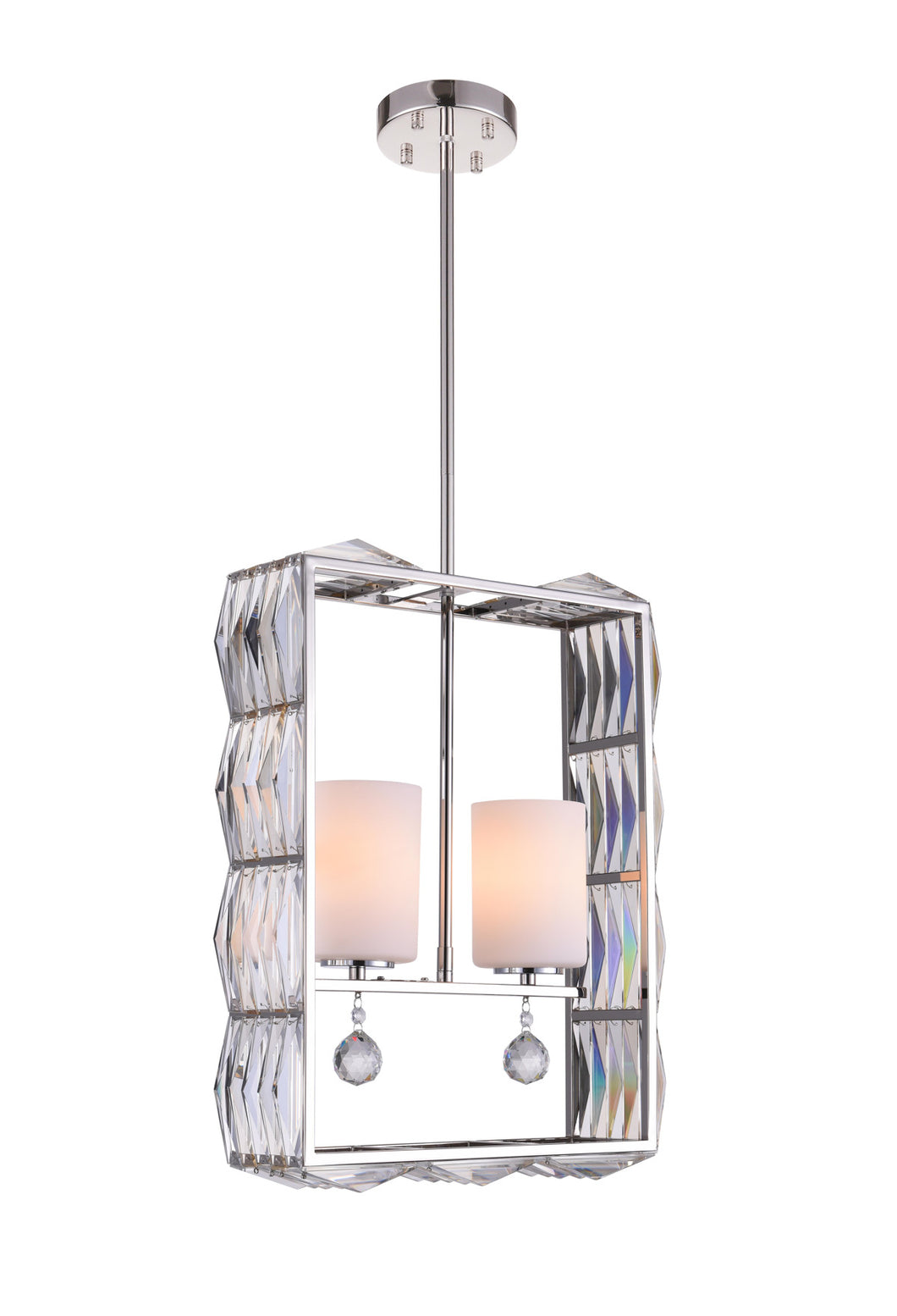 2 Light Down Chandelier with Bright Nickel finish