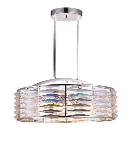 8 Light Down Chandelier with Bright Nickel finish