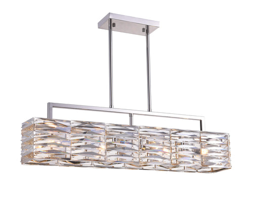 4 Light Island Chandelier with Bright Nickel finish