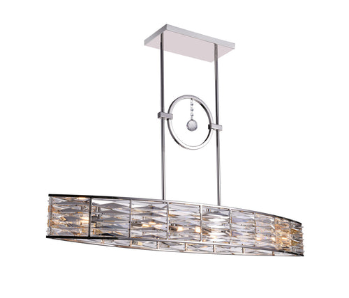 6 Light Island Chandelier with Bright Nickel finish