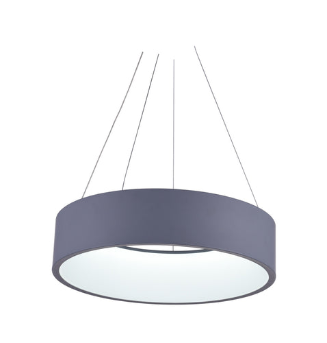 LED Drum Shade Pendant with Gray & White finish