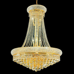 8 Light Down Chandelier with Gold finish
