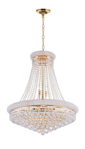 18 Light Down Chandelier with Gold finish