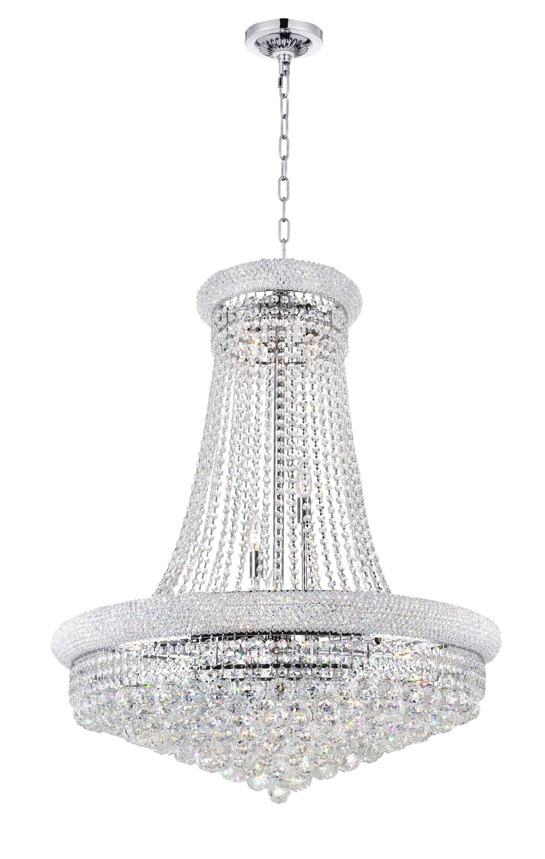 19 Light Down Chandelier with Chrome finish