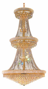34 Light Down Chandelier with Gold finish