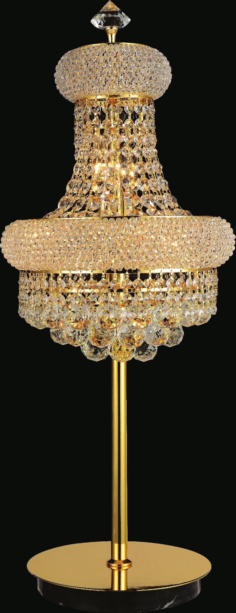 6 Light Table Lamp with Gold finish