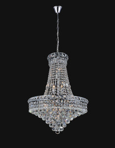 14 Light Down Chandelier with Chrome finish