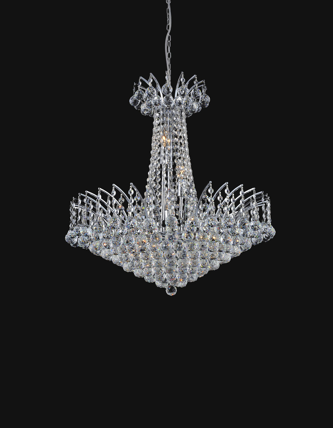 22 Light Down Chandelier with Chrome finish