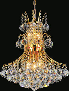 10 Light Down Chandelier with Gold finish