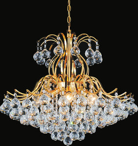 6 Light Down Chandelier with Gold finish