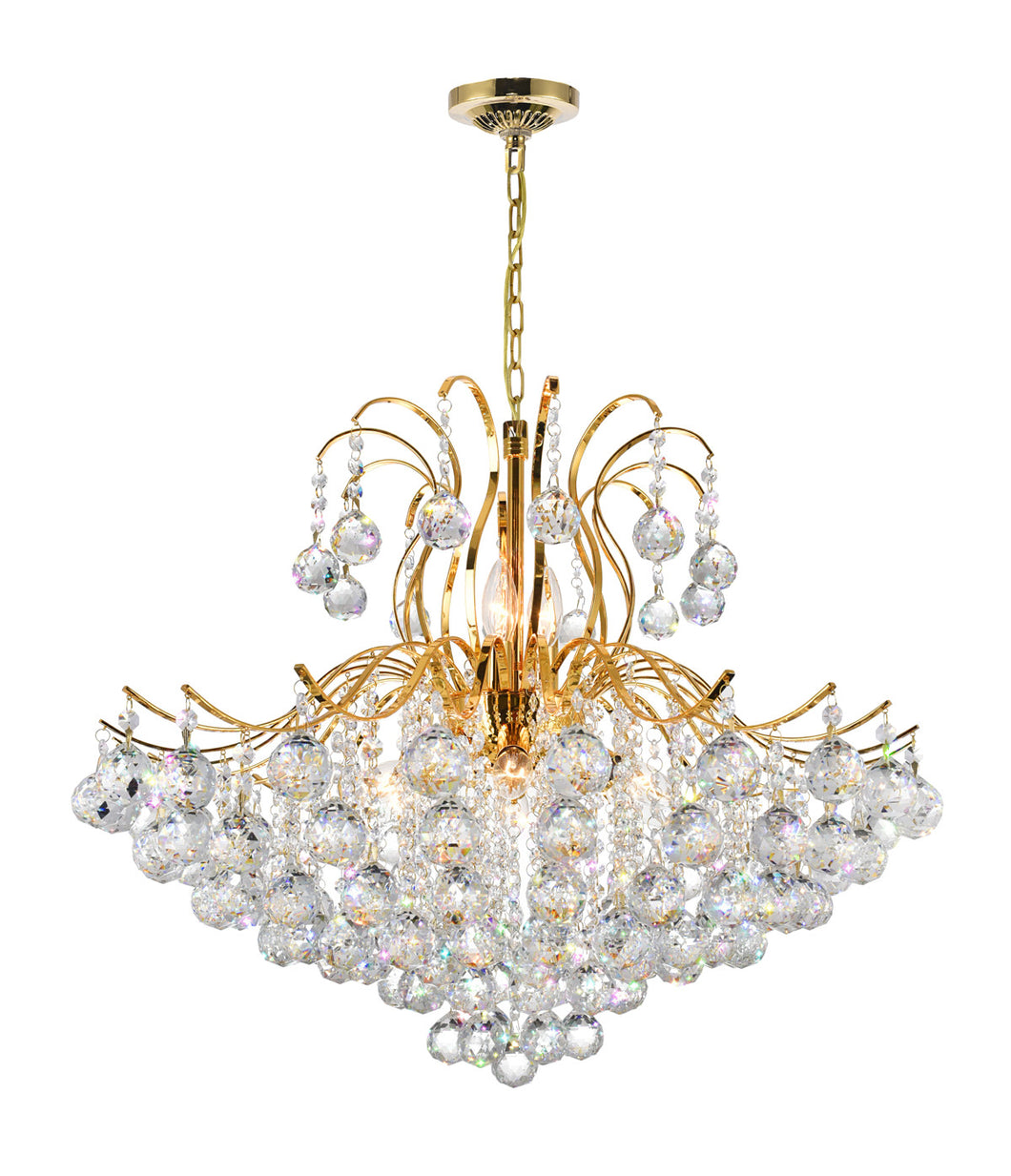 9 Light Down Chandelier with Gold finish