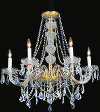 Load image into Gallery viewer, 6 Light Down Chandelier with Gold finish
