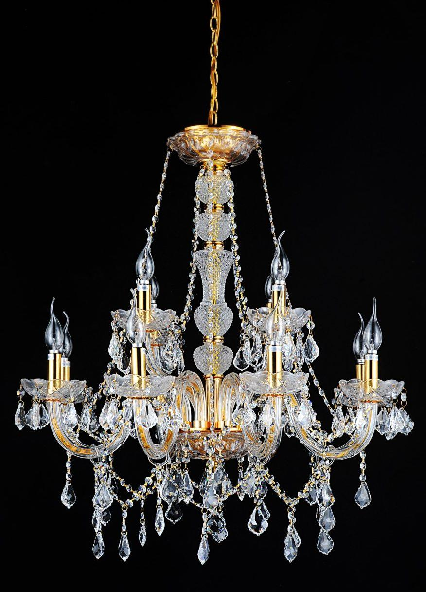 12 Light Down Chandelier with Gold finish