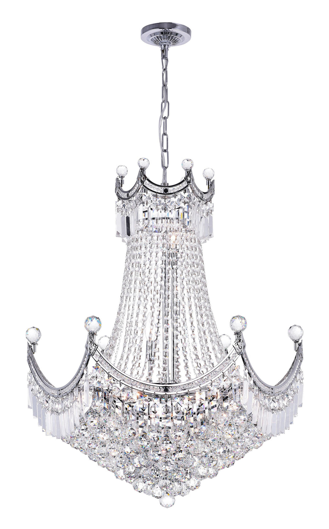 15 Light Down Chandelier with Chrome finish
