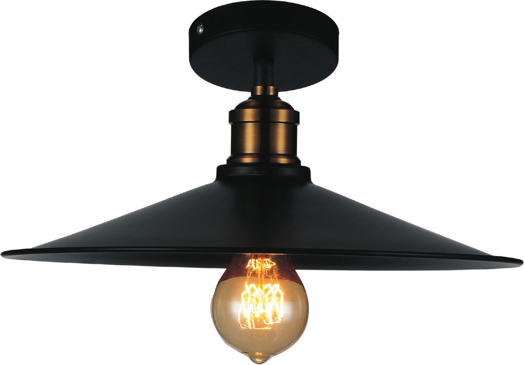 1 Light  Flush Mount with Black finish