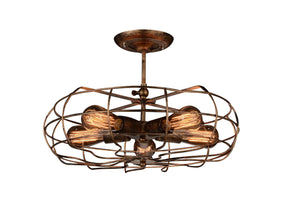 5 Light  Flush Mount with Antique Copper finish
