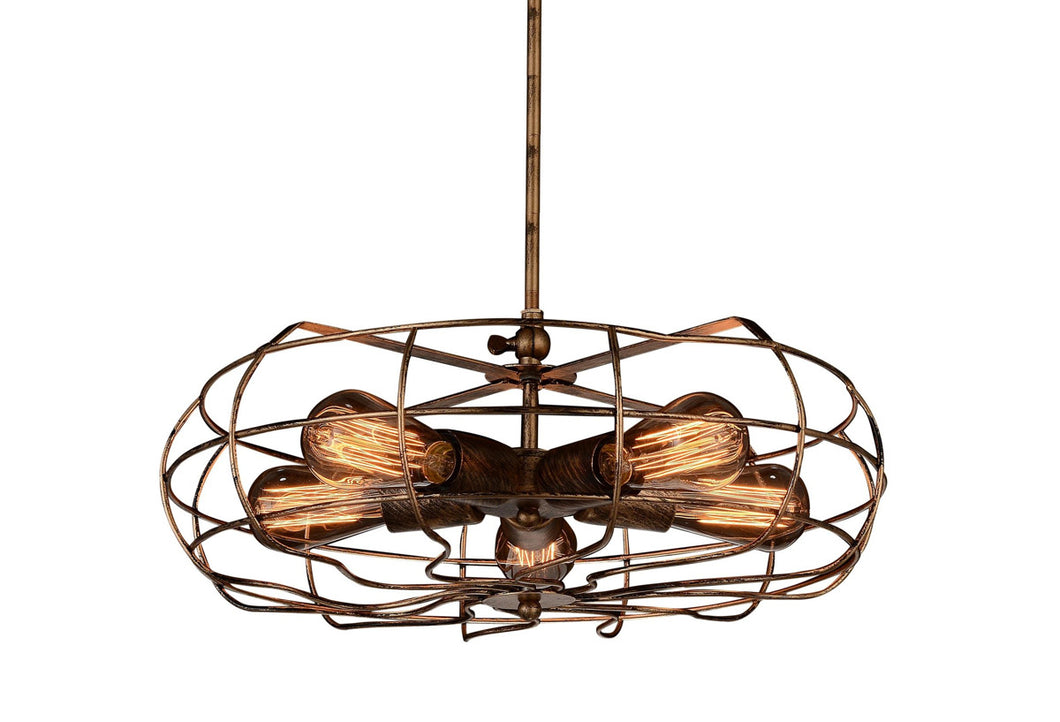 5 Light  Pendant with Antique Copper finish