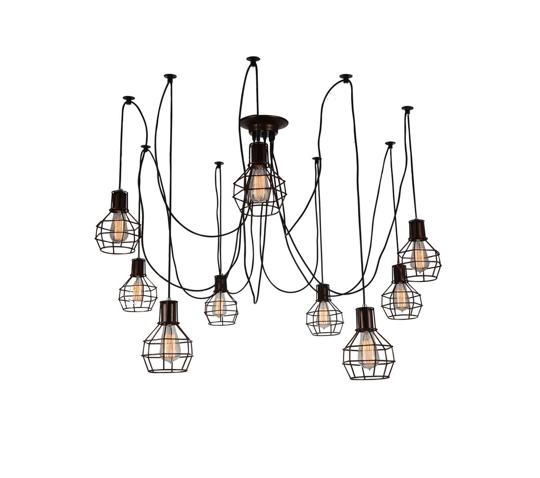 9 Light Multi Light Pendant with Chocolate finish