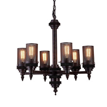 Load image into Gallery viewer, 6 Light Up Chandelier with Rust finish
