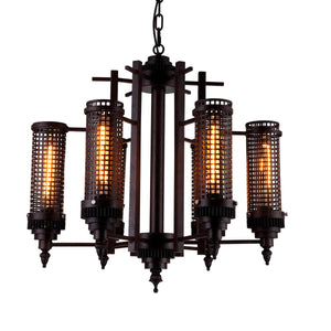 6 Light Up Chandelier with Rust finish