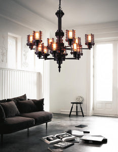 12 Light Up Chandelier with Rust finish